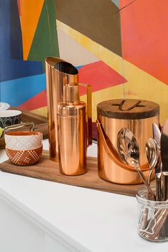 Copper and rose gold are fall decor award winners—like this Threshold barware…
