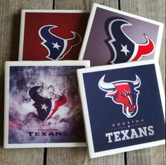 Set of 4 Houston Texans Coasters by TheHomeTeamShop on Etsy