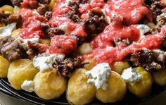 Mediterranean Poutine- check the ingredients on your pre-packed Parisienne Potatoes or make your own to be sure they are gluten free.