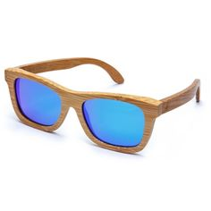 Original Floating Bamboo Wayfarer Sunglasses - Blue Mirror Lens