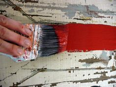 Learn How to Make a Hand-Painted Vintage Sign: Paint inside the lines, but leave some of the finish/paint underneath exposed. Let dry. If necessary, put on a second coat and let dry. Use sandpaper to scrape away the paint in some spots to give it an aged look. From DIYnetwork.com