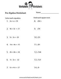 Printables Basic Pre Algebra Worksheets worksheets algebra equations and equation on pinterest pre practice worksheet