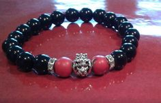 Black and Red Royalty Bracelet Red Turquoise, Black Agate, Natural Gemstones, Royalty, Beaded Bracelets, Couture, Beads, Silver, Jewelry