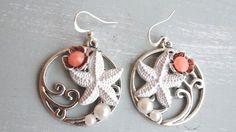 Silver wave circle sea star beach earrings!