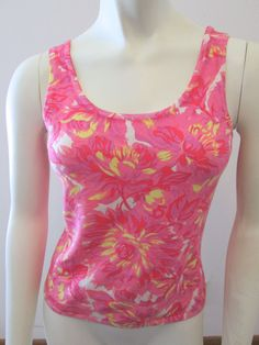 Tibi Silk Knit Painted Floral Pink Scoop Neck Tank Top S #Tibi #TankCami #Casual