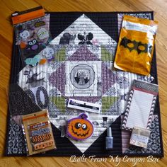 Kwilty Pleasures: GHASTLIES SWAP REVEAL - DAY 1 Monday - Mini quilt made by Michelle, Quilts From my Crayon Box other items added to swap package