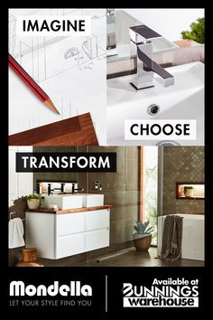 At Mondella, we'll help you plan, design and create your new bathroom. Available at Bunnings Warehouse Bathroom Inspo, Plan Design, Beautiful Bathrooms, Rococo, Small Bathroom, Warehouse, Your Style, Finding Yourself, Kitchens