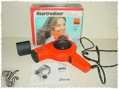SHG Haartrockner - orange - 70er - Fön + Ondulierdüse. Von vintageschippie bei DaWanda.