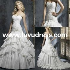 2014 Elegant Custom Made Sweetheart Applique Beaded Pleat Satin A Line Wedding Guest Dress
