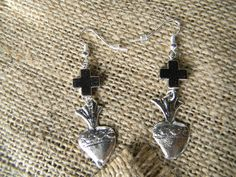 Silver Cross Earrings with Sacred Heart Milagros Segundo Milagro gringagordon@gmail.com http://segundomilagro.tumblr.com  #milagro #milagros #spirit #christian #catholic #religious #jewish #blessing #altars #altar #miracle #charm #charmed #blessed #divine #mexico #saints #mexican #sale #gift #custom #folk #art #handmade #artifact #faith #style #shop #protection #custom #cool #god #cross #prayer #chic #fashion #jewelry #silver #earrings #heart