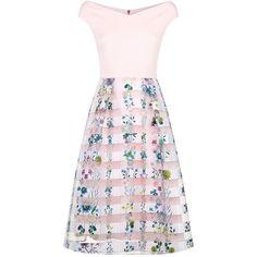 Ted Baker Lulou Floral Bardot Dress ($305) ❤ liked on Polyvore featuring dresses, botanical dress, off-shoulder dresses, floral pattern dress, flower print dresses and pink floral print dress