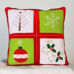 Hand embroidered Christmas Pillow!