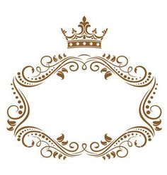 Elegant royal frame with crown isolated on white background. Jpeg version also available in gallery - stock vector Page Borders Design, Crown Logo, Frame Clipart, White Background Photo, Flower Template, Royalty Free Photos, Clip Art, Symbols, Illustration