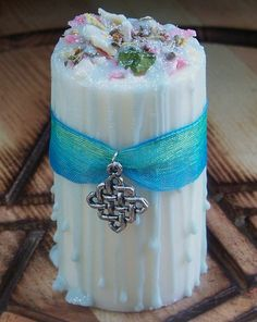 LOTHLORIEN Enchanting Faery Magic Soy Pillar Candle w/ Peridot, Elfin Thyme, Hawthorn & More for Celtic Druid Alchemy, Imbolc, Ostara by ArtisanWitchcrafts