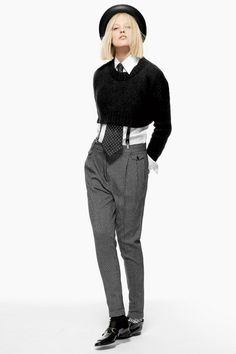 """Dude. Suspenders under a cropped sweater. My whole brain just went, """"Yes!"""""""