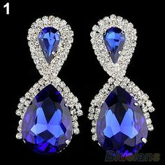 Women Vintage Big Water Earrings Royal Blue Designer Inspired Earrings
