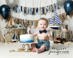 """""""Ahoy Matey"""" all the little sailors will be looking like dream boats with this d. """"Ahoy Matey"""" all the little sailors will be looking like dream boats with this design! Boys First Birthday Cake, Novelty Birthday Cakes, Birthday Cake Smash, First Birthday Photos, Baby Birthday, Boy Cake Smash, Nautical Cake Smash, Cake Smash Backdrop, Cake Smash Photos"""