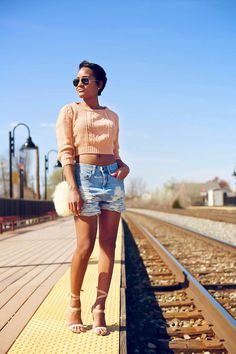 The Daileigh distressed boyfriend jean shorts. Can totally make these!