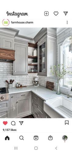Kitchen Room Design, Kitchen Redo, New Kitchen, Kitchen Ideas, Modern Farmhouse Kitchens, Home Kitchens, Farmhouse Ideas, Grey Cabinets, Kitchen Cabinets