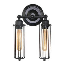 LNC Black Metal Industrial Mini Wire Cage Wall Sconce Shade(Bulbs not Included)