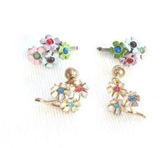 Vintage enamel flower Earrings by Nemo and shirt accessories via Etsy