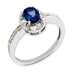 Sterling Silver Oval September Birthstone Sapphire Diamond Ring Available Exclusively at Gemologica.com