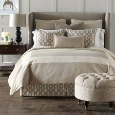 The harmonious, neutral colorway and minimalist design of our Rayland Bedding Collection evokes elegant serenity. The Duvet Cover has a textural, linen weave that is soft and inviting. Duvet Cover woven of 55% cotton and 45% polyester Ties inside Duvet Cover for easy comforter attachmentAll Shams arrive with a polyester fiberfill insert and have zipper closure for easy careStandard and King Shams are made of 100% cottonEuro Sham woven of 55% cotton and 45% polyester Bolster covered in 71%…