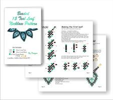 15 Teal Leaf Russian Necklace Beading patterns and kit