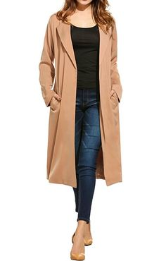 05bf5163ba6 Amazon.com  Zeagoo Women s Open Front Long Trench Coat Casual Lightweight  Blazer Cardigans Winter Outdoor  Clothing