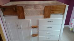 4 Drawer cabin bed in white with traditional stained pine features. Aspenn make bespoke cabin beds designed by you, the customer. We only use solid natural pine or oak in our work (no mdf!) so we can structurally guarantee our furniture for 20 years. You can design your perfect cabin bed for your childs room at www.aspennfurniture.co.uk and we'll email you back a full quote within a day. Contact us on 01937 843386 / ianaspenn@btinternet.com to discuss your ideas. Childrens Cabin Beds, Full Quote, Can Design, Your Perfect, 20 Years, Bespoke, Pine, Kids Room, Drawers