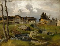 """Lähestyvä Ukonilma"" by Hjalmar Munsterhjelm Scandinavian Paintings, Scandinavian Art, Landscape Art, Landscape Paintings, Les Oeuvres, Norway, Illustration, Helsinki, Scenery"