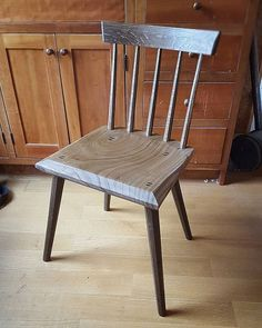 First chair for 2017. Freshly fumed with ammonia and oiled white oak and Catalpa. My version of @lostartpress chair from The Anarchist Design book.
