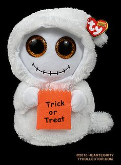Mist (medium), Ty Beanie Boos Halloween ghost, reference information and photograph. All Beanie Boos, Beanie Babies, Boo Ghost, Cute Ghost, Big Eyed Animals, Lorax Trees, Ty Beanie Boos Collection, Ty Stuffed Animals, Disney Wreath