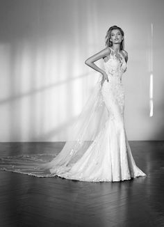 St. Patrick 2018 Collection modern lace wedding dress with cape