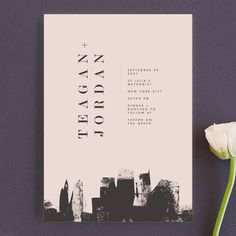 """""""Urban"""" - Wedding Invitations in Onyx by Lori Wemple. Minted custom pink blush white City modern painted painterly New York Chicago downtown buildings skyscraper black"""