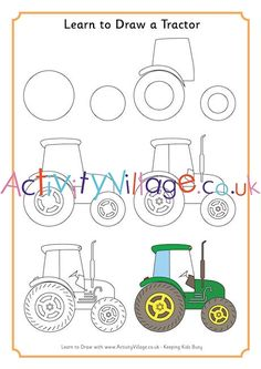 Learn To Draw how to draw a TRACTOR tutorial easy pencil pattern idea Art Drawings For Kids, Drawing For Kids, Painting For Kids, Easy Drawings, Art For Kids, Crafts For Kids, Pencil Drawings, Drawing Lessons, Art Lessons