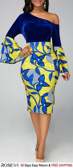 Rosewe Women Dress Royal Blue Floral Sheath Long Sleeve One Shoulder Asymmetric Hem Skew Neck Layered Bell Sleeve Dress African Fashion Ankara, Latest African Fashion Dresses, African Dresses For Women, African Print Dresses, African Print Fashion, African Attire, Women's Fashion Dresses, Africa Fashion, African Style