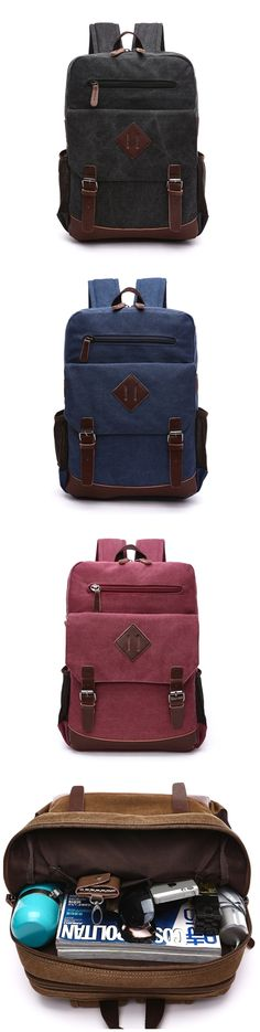Men's Large Vintage Canvas Backpack School Laptop Bag Hiking Travel Rucksack Bagail.com