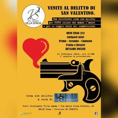 #Leaflet #SanValentino 2014 a #VillaSpada #Roma con #AnimeDiCarta - Agenzia: Cactus Adv  #ilgiustospessore #marketing #ads #ad #idea #creativeagency #advertising #adv #advertisingagency #branding #brand #graphicdesign #creative #publicity  #svalentino #valentinesday #cenacondelitto #graphic #logo #gun #heart #murder