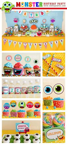Monster Bash Birthday DIY Printable Party Package.**YOU EDIT YOURSELF WITH ADOBE READER ! **EDITABLE