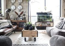 Modern industrial living room with monochromatic color scheme and coffee table on wheel. Monochromatic Living Rooms in White Full of Personality!