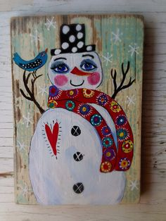 Whimsical Snowman Holiday Decor  on Etsy, $42.00