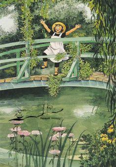 Postkarte: Lena Anderson - Linnea auf der Brücke   eBay