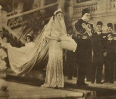 Wedding of Safinaz Zulficar (later Queen Farida) and King Farouk of Egypt, 20 January 1938 at Qubba Palace in Cairo, Egypt