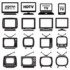 TV black and white royalty free vector icon set vector art illustration