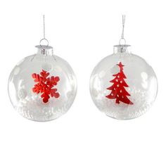 White Set of Two Snowball Baubles | Dunelm