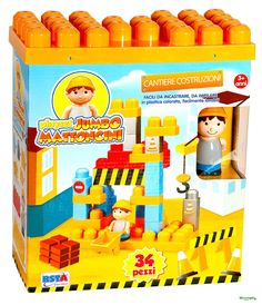 Costruzioni JUMBO CANTIERE mattoncini. Per bambini 3 anniPer i più piccoli costruzioni con i mattoncini JUMBO CANTIERE con personaggio, accessori e adesivi. I mattoncini JUMBO sono facili da incastrare e impilare. Si possono lavare molto facilmente.Per gli appassionati delle costruzioni.Dimensioni Scatola cm 24 x 12 x 28 hPezzi contenuti: 34Adatto per bambini di età superiore a 3 Anni.Marchio CE.