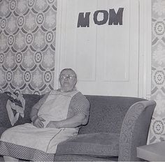 Vintage Antique Photograph Older Woman Sitting on Couch Mom Sign on Door