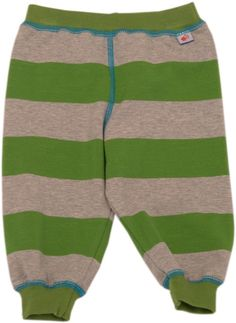 green & grey striped baby trousers