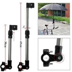 Bicycle Mount Holder Linkertech Umbrella Bar Holder Wheelchair Baby Chair Bike Umbrella Frame Stand Handle Umbrella Connector Stroller Holder Moped Bike Mount Holder for Sunny Rain Umbrella (01-Black)